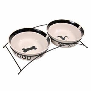 2 keramikk skåler i stativ