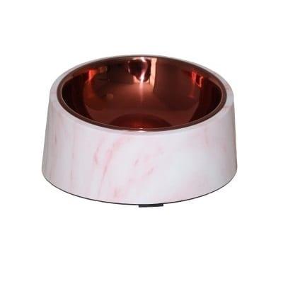 Rusfri stålskål marmor og rosegull