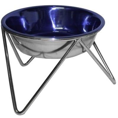 Rusfri stålskål blå med stativ