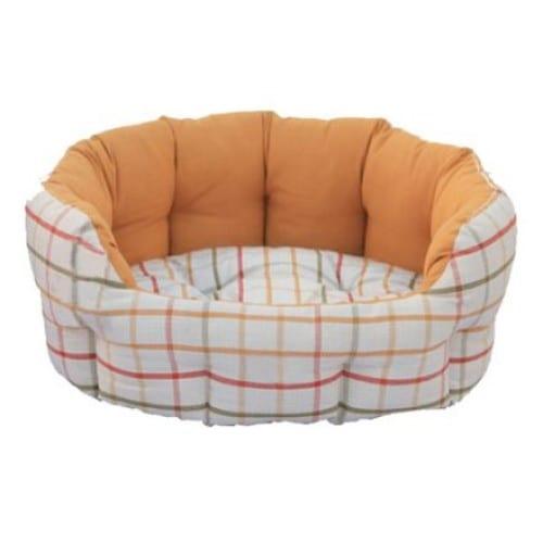 Hundeseng Oval hvit/orange rutete